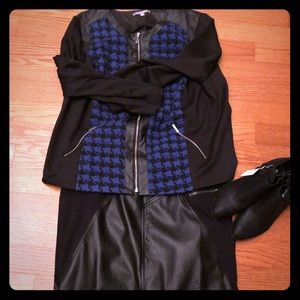 Faux Leather and Stretch Knit Houndstooth Jacket.